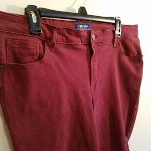 Womens Old Navy dark red rockstar velveteen pants